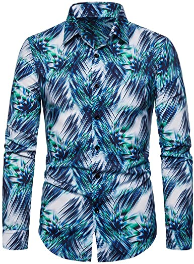 linqiudD Casual Clothes Men Printing Vintage Slim Casual Long Sleeve Dress Shirt Blouse Tops