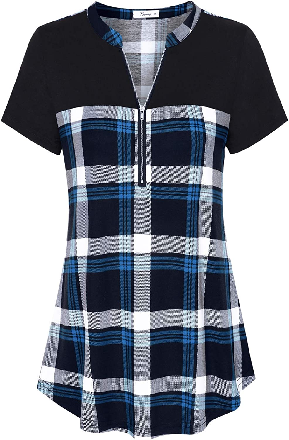 Riguang Women's Zip Up Henley V Neck Color Block Casual Plaid Tunic Shirt