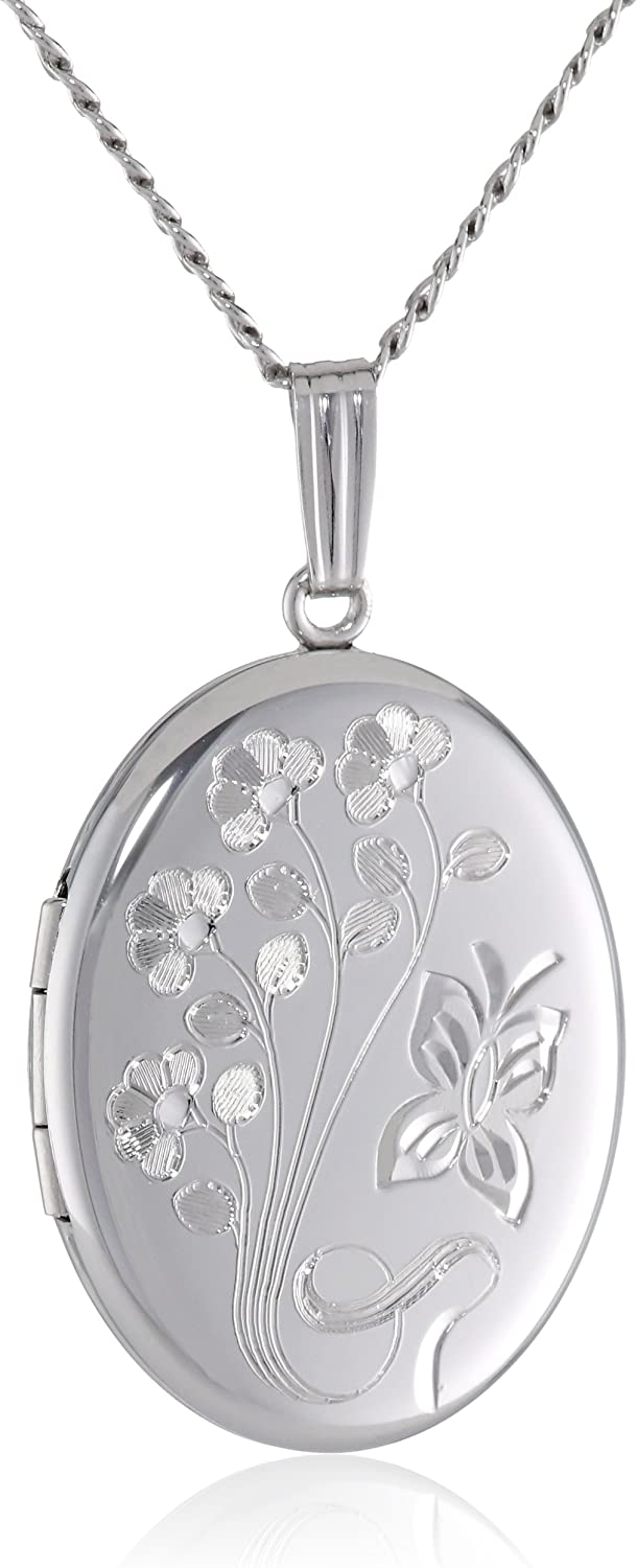 Holds 2 Pictures 925 Sterling Silver Rhodium-plated w//Diamond Accent Patterned Oval Locket Pendant
