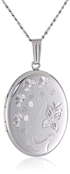 Amazon sterling silver engraved flowers oval locket 20 sterling silver engraved flowers oval locket 20quot aloadofball Images