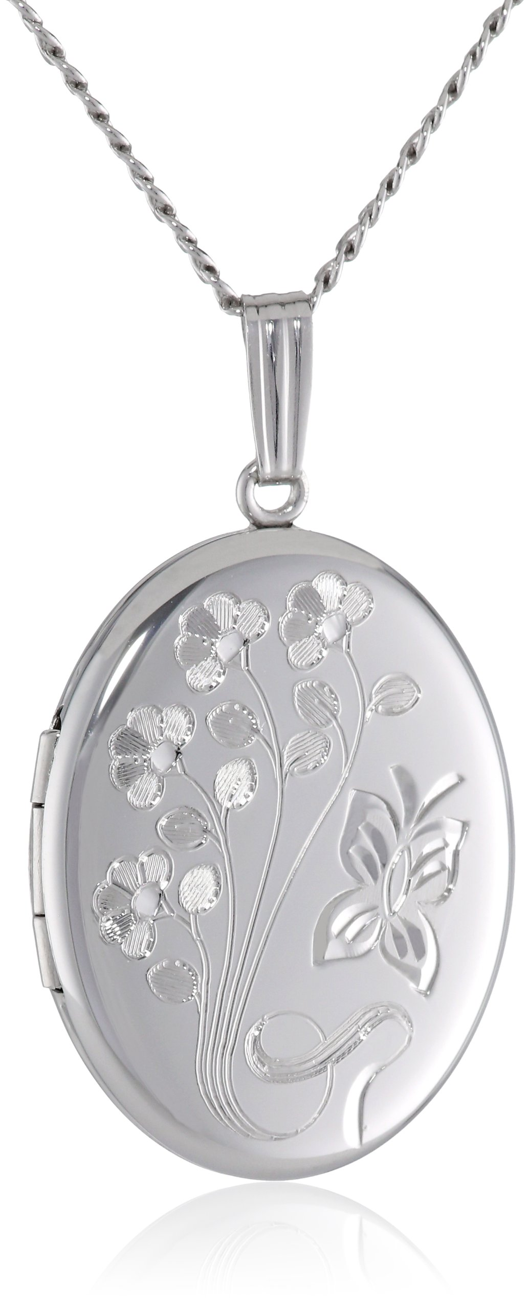 Sterling Silver Engraved Flowers Oval Locket, 20''
