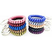 FRUTA 10 Pieces Plastic Coil Stretch Wristband Keychain Elastic Stretchable Spiral Coil Wrist Keychain Key Holder Key…