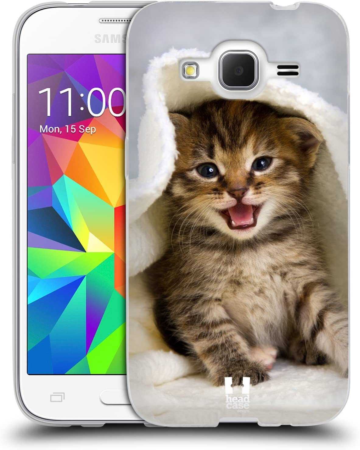 Head Case Designs Chaton dans Serviette Chaude Chats Coque en Gel Doux Compatible avec Samsung Galaxy Core Prime