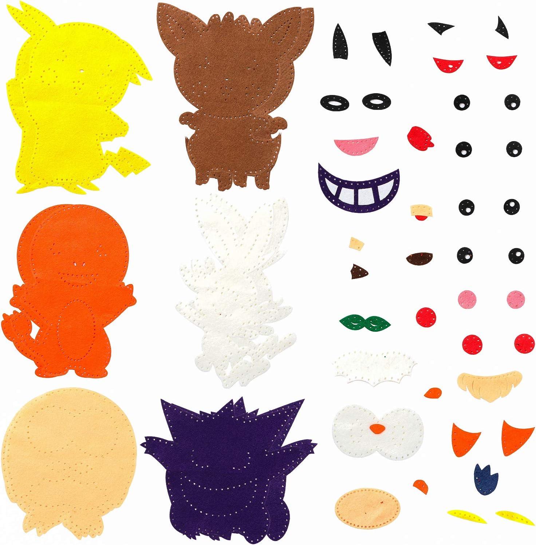 MALLMALL6 6Pcs Pikachu Sewing Kit DIY Art Craft Felt Kits for Kids Learn to Sew Crafts Supplies Handmade Stuffed Cartoon Toys Educational Stitch Craft Classroom Art Project for Beginners Boys Girls