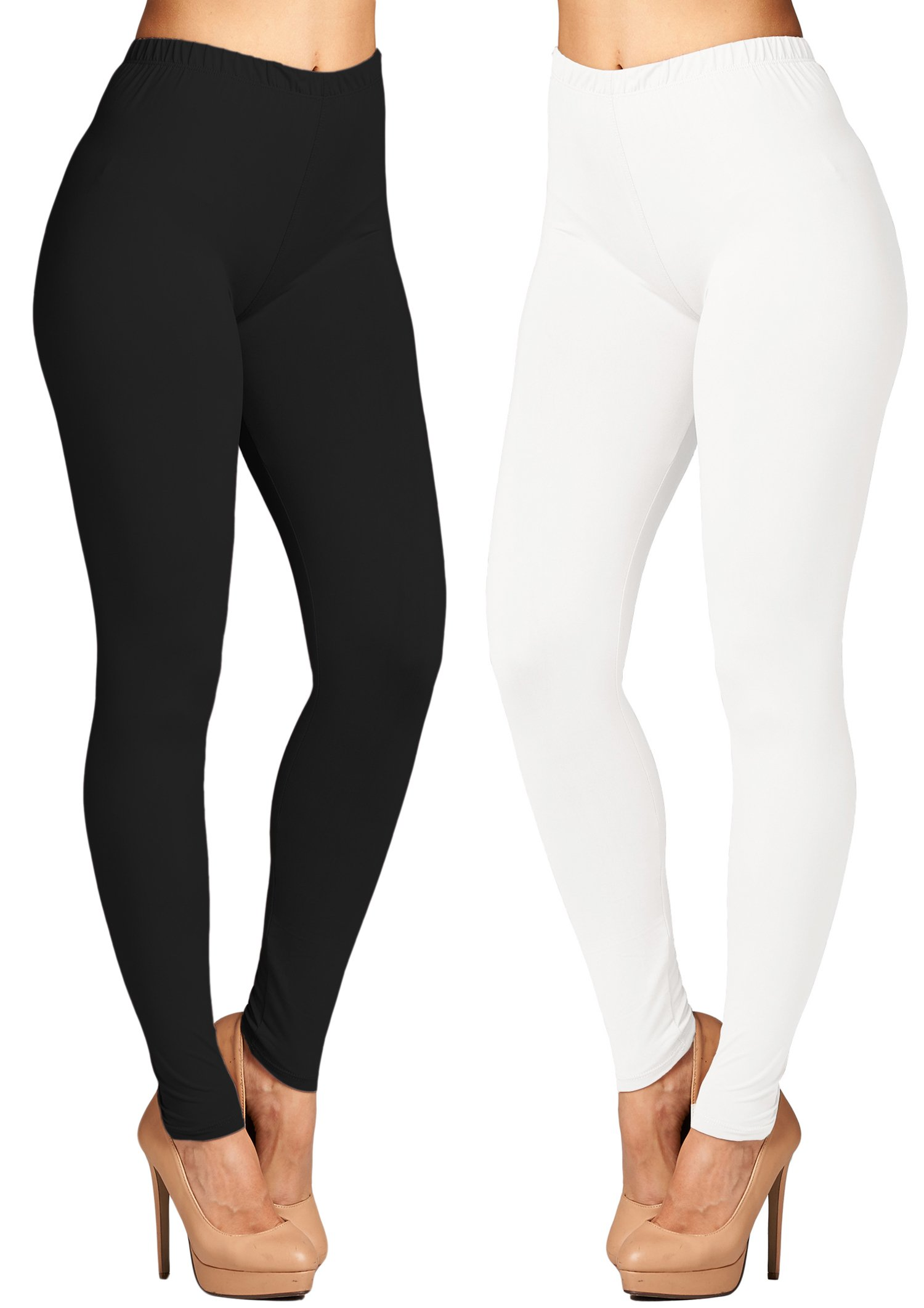 Leggings Mania 2-pk Women's Plus Solid Colored High Waist Leggings Black White