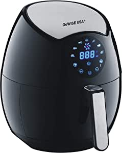 GoWISE USA 3.7-Quart 7-in-1 Programmable Air Fryer + 100 Recipes for your Air Fryer Book, GW22621,Black