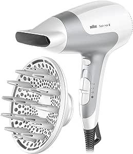 Braun HD585 Satin Hair 5 Ionic Power Perfection Dryer, White/Grey, 2500 Watts