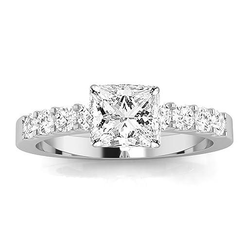 1.05 Carat t.w. GIA Certified Princess Classic Prong Set Diamond Engagement Ring K/VVS2