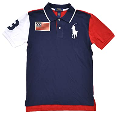 bab68e3d480d Image Unavailable. Image not available for. Color  Polo Ralph Lauren Boys  Big Pony USA Flag ...