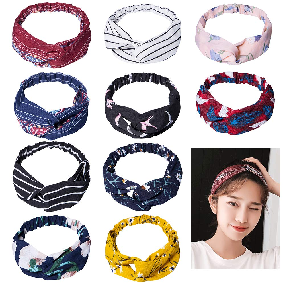 DRESHOW 6 Pack Headbands for Women Boho Headbands Vintage Flower Printed Criss Cross Elastic Head Wrap