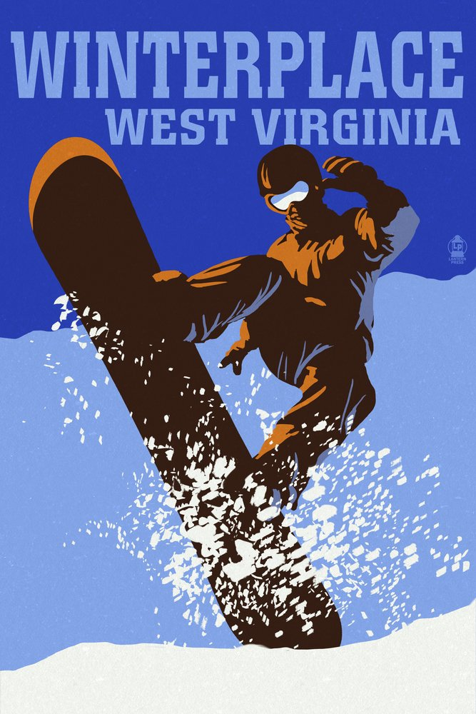Winterplace、West Virginia – カラーブロックSnowboarder 36 x 54 Giclee Print LANT-51438-36x54 36 x 54 Giclee Print  B017EA1HUU