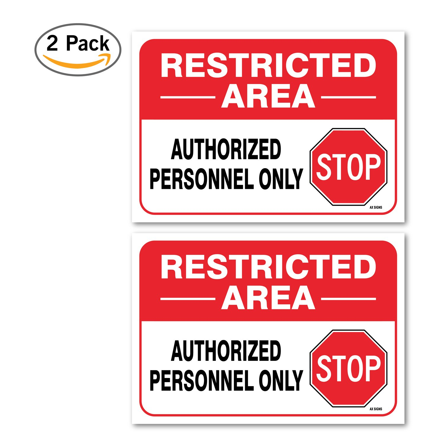 Amazon com 2 pack restricted area sign large 10 x 7 inch vinyl stickers indoor and outdoor use rust free uv protected waterproof self adhesive