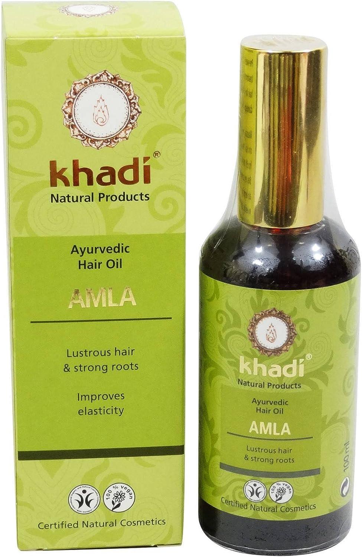 KHADI Aceite Capilar Amla - Trata el cabello dañado - Promueve el crecimiento del cabello - Contra la caída del cabello