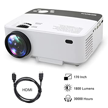 Proyectores, Mini Proyector Portátil HD Proyector LED 1800 Lumens WiMiUS R1 Projector LCD Home Cinema con Cable HDMI