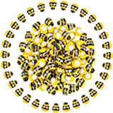 Provone 100pcs Wooden Bee Flatback Embellishment Tiny Bees For Craft Gift Scrapbooking Diy Party Decor(yellow bee)