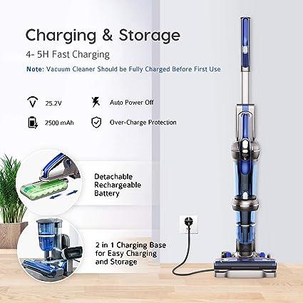 Aoeatop - Aspirador escoba 2 en 1 inalámbrico, 20 kpa con 2 velocidades de aspiración, 25,2 V, 2500 mAh, batería de litio extraíble, 380 W, motor sin escobillas, filtro multiciclón, cepillo eléctrico: Amazon.es: Hogar