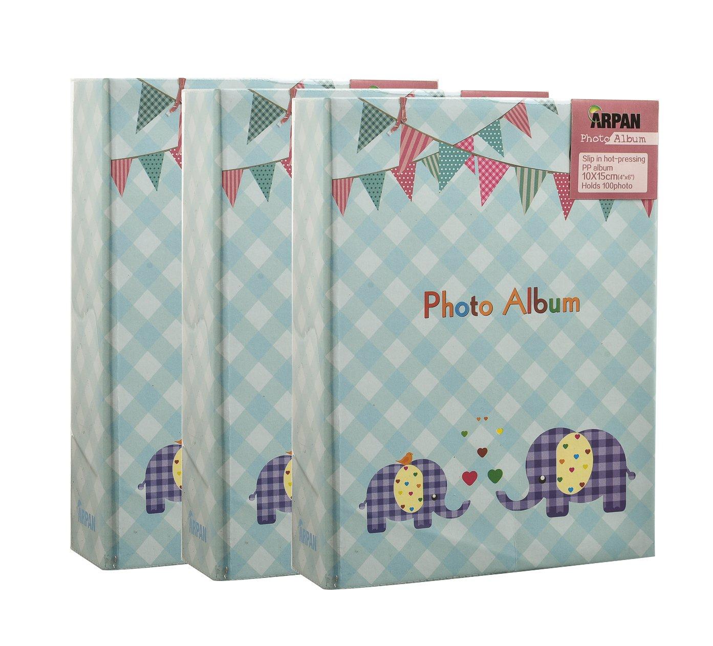 3 x Arpan 6x4'' Blue Baby Boy Slip In Photo Album For 100 Photos- Elephant Kids -Ideal Gift BA-9776-X3