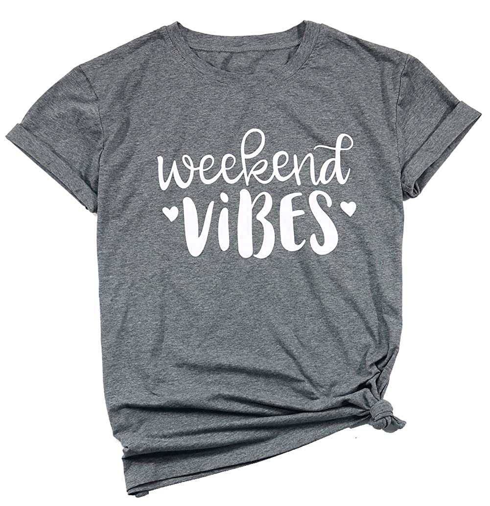 46a69fa8b Amazon.com: Weekend Vibes Shirts Short Sleeve Letter Print Cute Graphic Tee  Shirts Tops for Women Teen Girls: Clothing