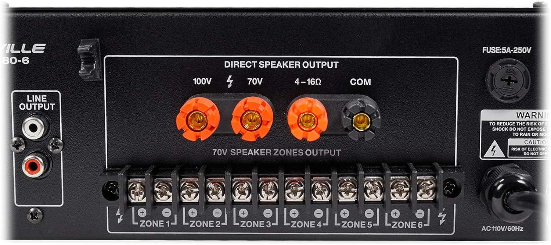 10 Rockville 6-Zone Amplifier+ 8 2-Way White Ceiling Speakers for Restaurant