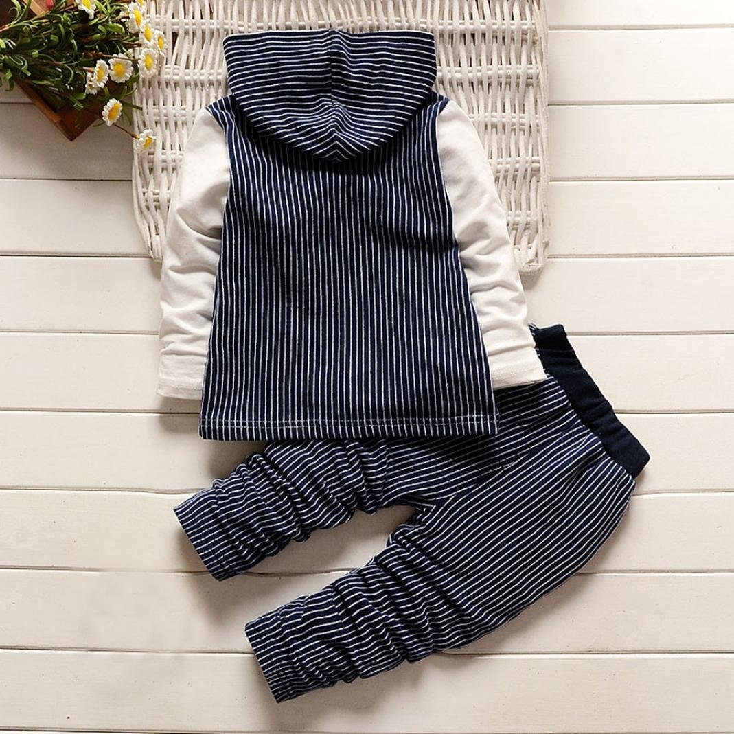 Memela 2pcs Toddler Infant Newborn Baby Boys Stripe Hoodie Tops Pant Outfits Set Clothes For 0-24M
