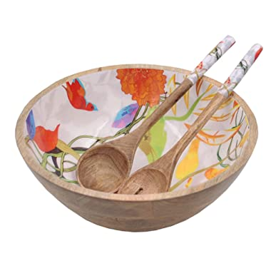 Wooden Large Mixing and Serving Bowl Set with 2 Servers, for Salad, Fruits, Pasta and Vegetable - 12  Diameter x 5  Height (Floral Parrot)