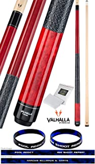 product image for Valhalla by Viking 2 Piece Pool Cue Stick Red VA114 Irish Linen Wrap 16-21 oz. Plus Rosin Bag & Bracelet (Red VA114, 18)