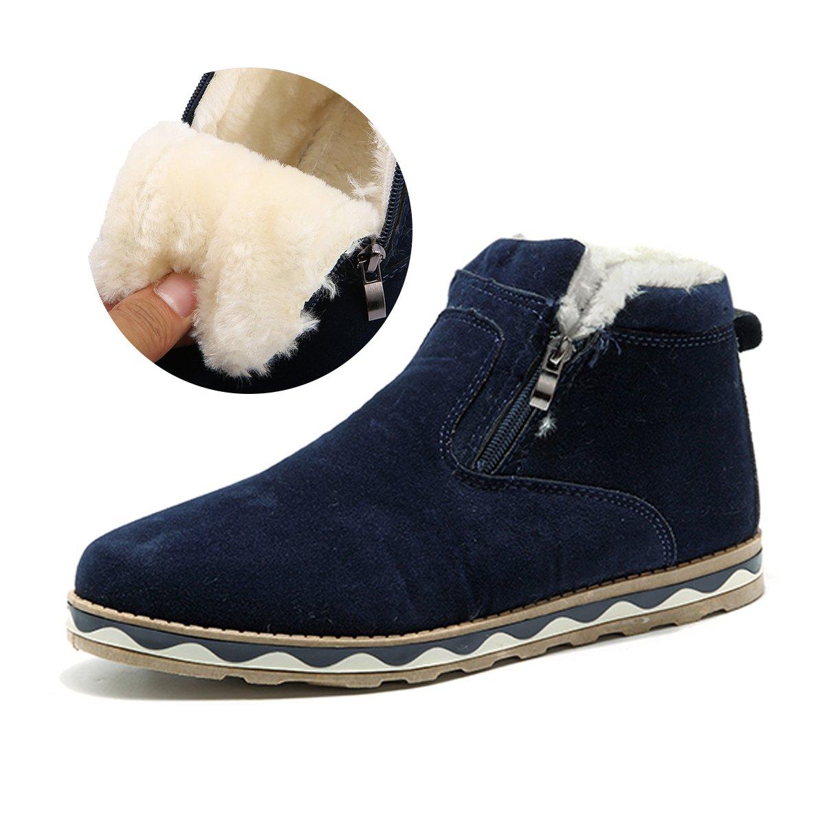 gracosy Men's Boots, British Style Suede Flat Platform Shoes Plus Velvet Winter Male Lace Up Cotton Snow Boots Blue 10 D(M) US