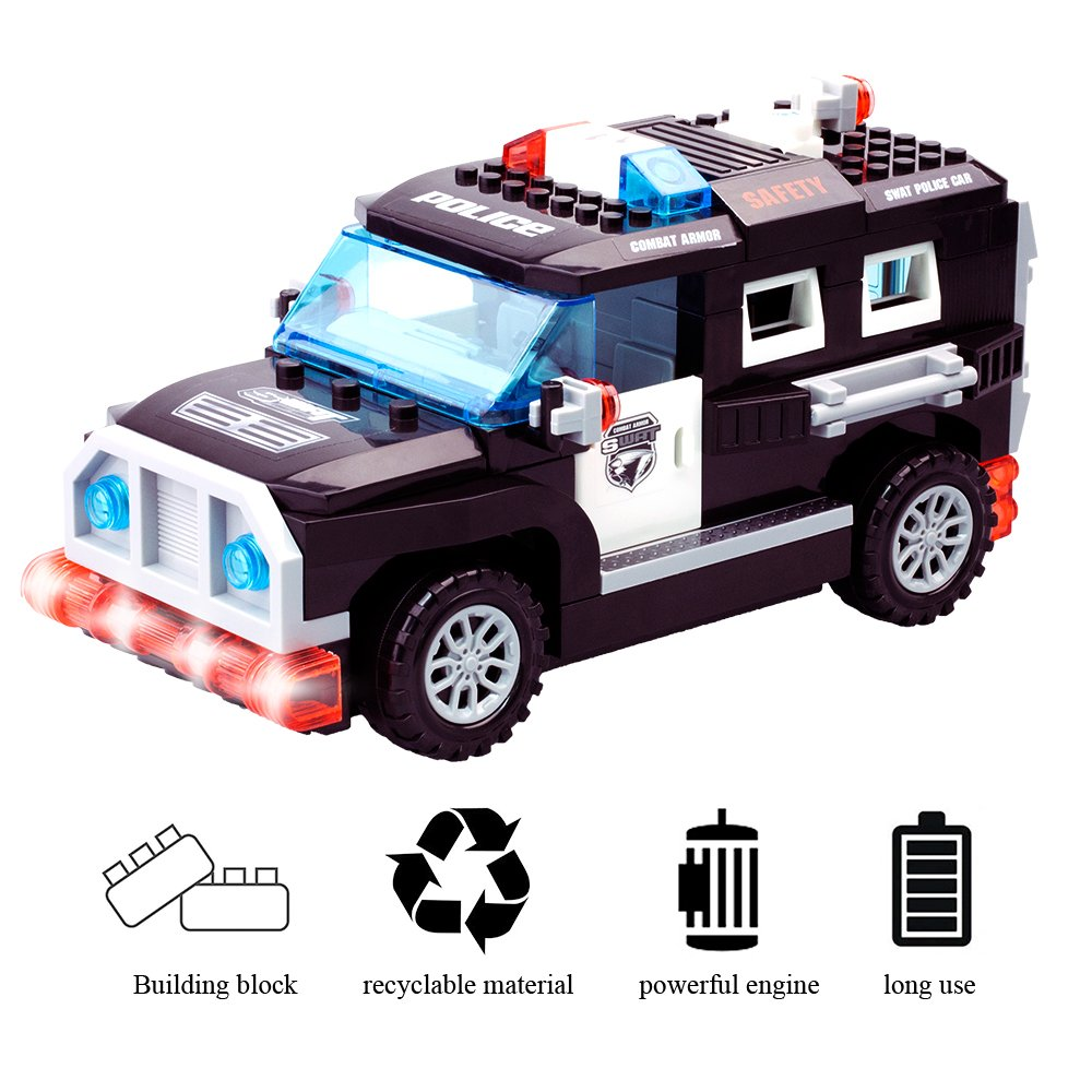Dillitop Building Blocks Police Vehicle Lights Circuit Electronic Circuits Pinterest Toy Car With Loud Siren And Glittering Diy Assembly Kit 72 Pcs
