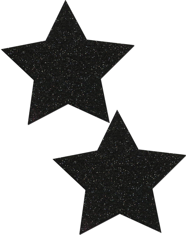 Pastease Black Sparkle Star Nipple Pasties by o/s STR-SPR-BK