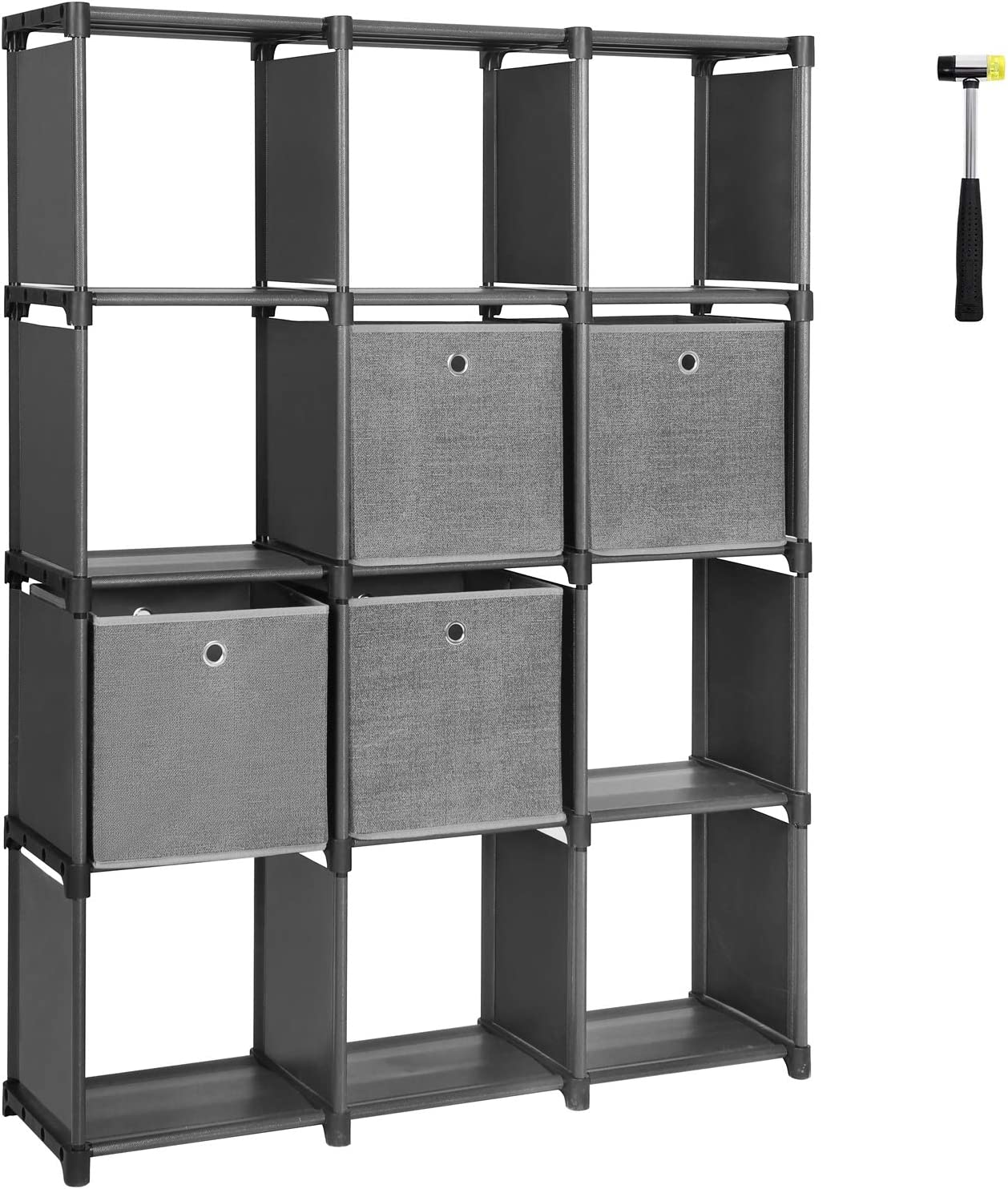 SONGMICS DIY Cube Storage Unit with Storage Boxes, 12 Cubes Multifunctional Book Shelves and Shoe Rack, Modular Sturdy Metal Frame, Includes Rubber Mallet, 55.1 x 11.8 x 41.3 Inches, Black