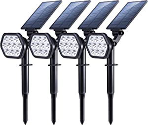 Nekteck Solar Lights Outdoor,10 LED Landscape Spotlights Solar Powered Wall Lights 2-in-1 Wireless Adjustable Security Decoration Lighting for Yard Garden Walkway Porch Pool Driveway (4 Pack, White)