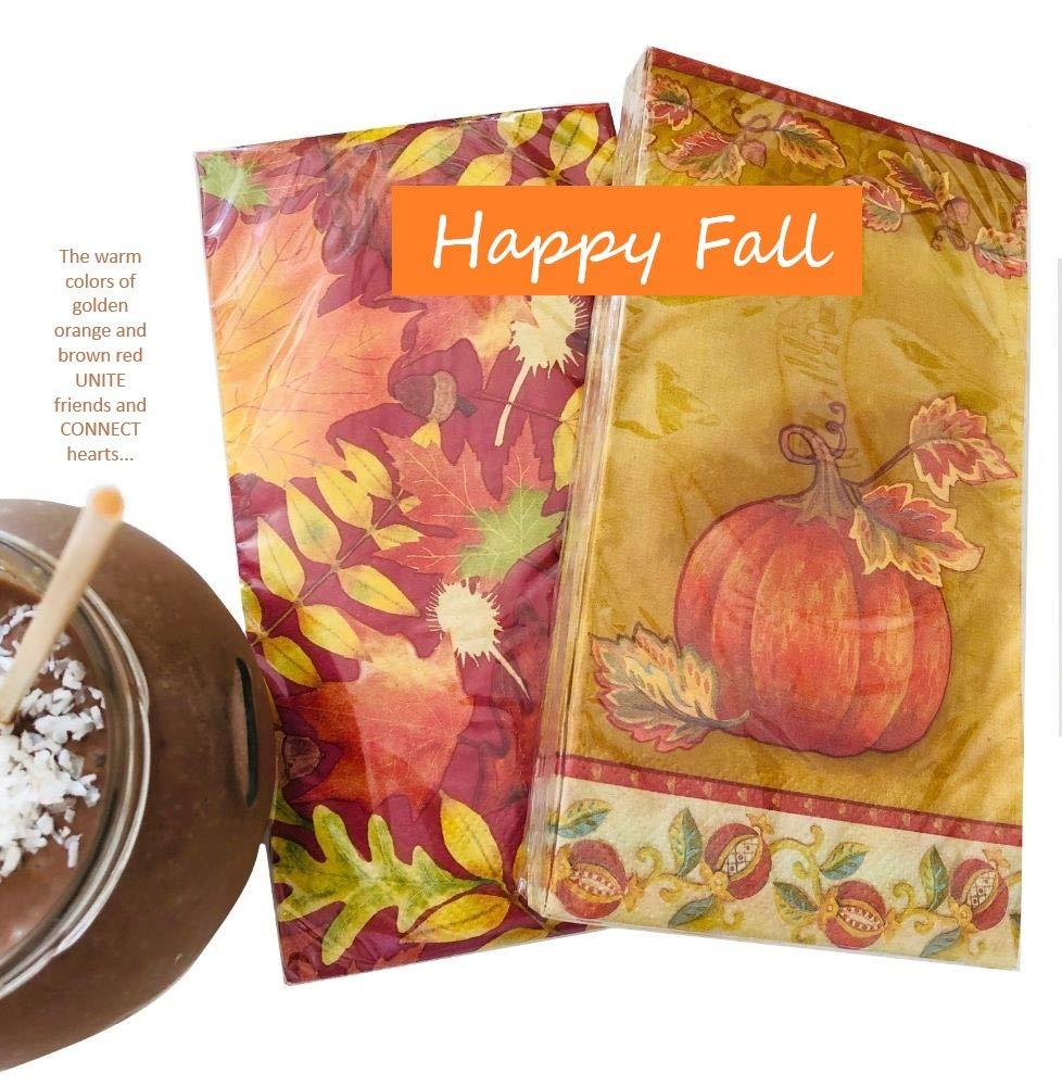 Fall Napkins | Golden Pumpkin Napkins | Thanksgiving Napkins | Decorative Napkins for Decoupage | Decorative Fall Paper Napkins | Guest Hand Towels | Christmas Paper Napkins | 2 x 20ct, Gold Pumpkin by AVEVER