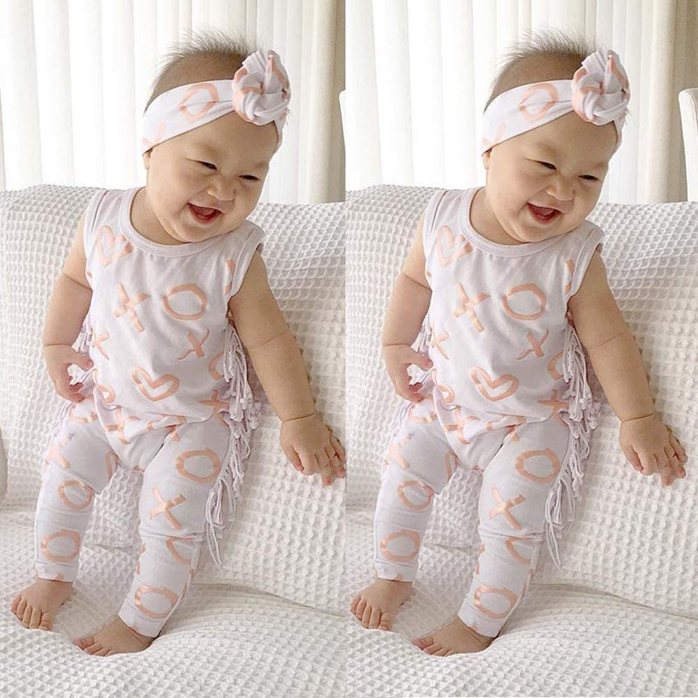 Toddler Baby Girl Boy One-Piece Bodysuit Cute Sleeveless Romper Jumpsuit Pajamas Clothes Set 0-24 Months