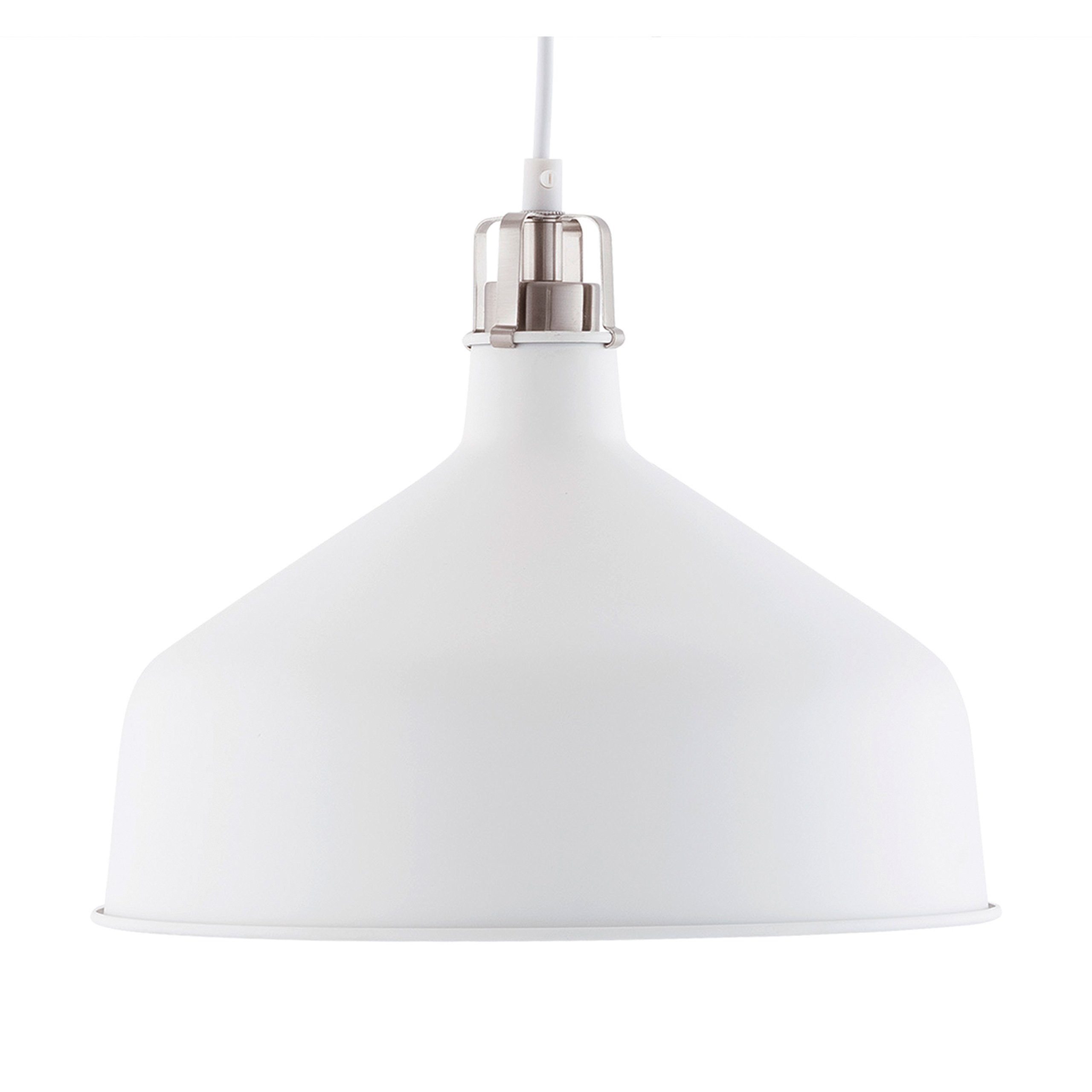 Light Society Banbury Pendant Light, Matte White Shade with Brushed Nickel Finish, Modern Industrial Farmhouse Lighting Fixture (LS-C167-WHI)