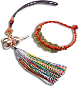KXT Feng Shui Calabash for Wealth and Safe, Ward Off Evil, Protect Peace - Also Can Used As Wind Chimes, Car Interiors,Bag Ornaments (Multicolour)