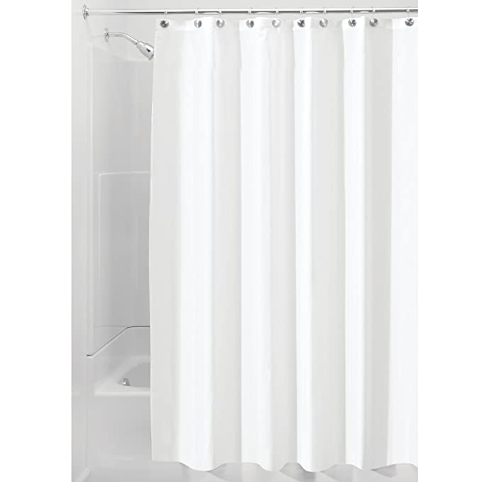 Amazon MDesign Bathroom Shower Set Polyester Fabric Curtain Liner 54 X 78 For Stalls Steel Roller Rings Hooks 12 Pack Of 2