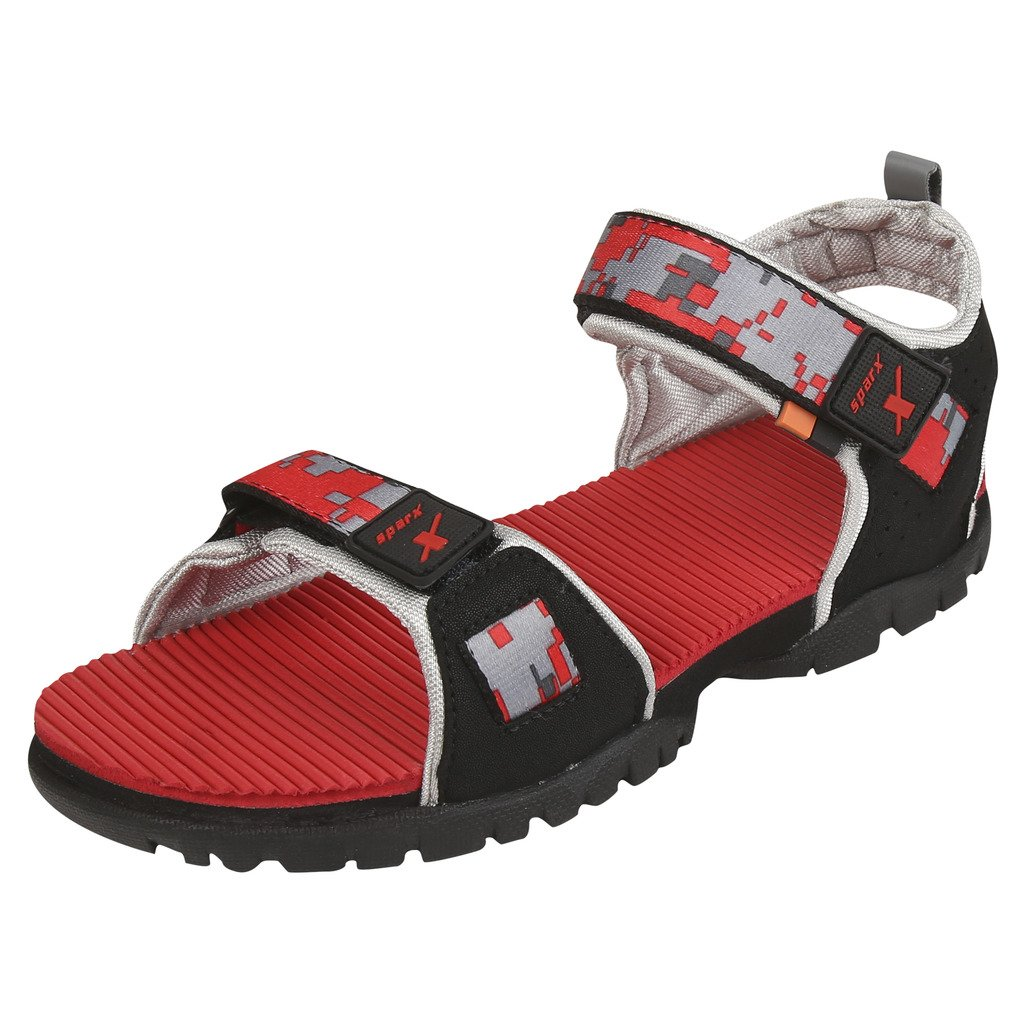 Black Red Synthetic Casual Sandal 9UK