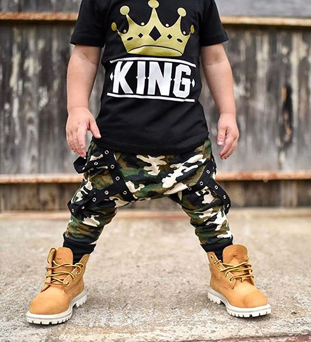 0c834a41 Amazon.com: Toddler Baby Boy Clothes King Short Sleeve Black T-Shirt +Camo  Pants Outfits Tops Set: Clothing