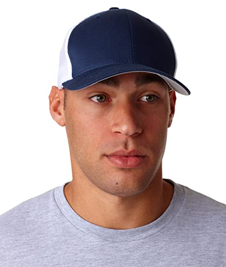 fadaa0e7 Flexfit 6-Panel Trucker Cap (6511)- Navy/White, OS at Amazon Men's ...