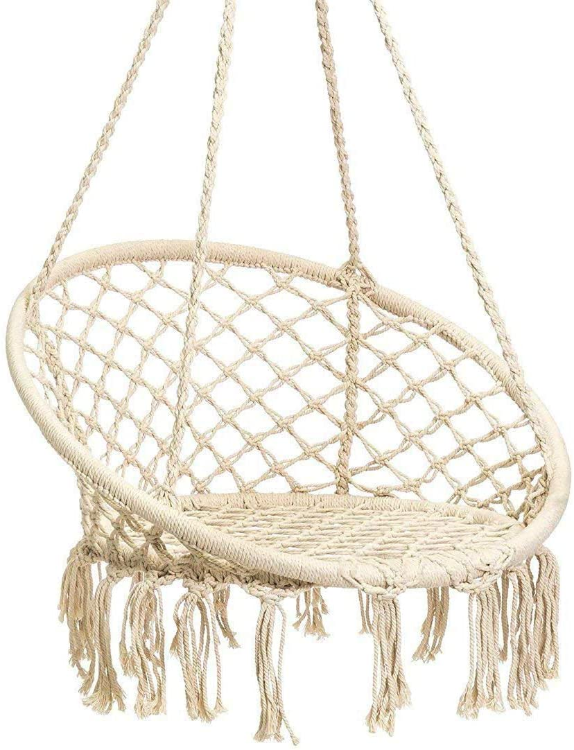 Karriw Hammock Chair Macrame Swing,Cotton Hanging Macrame Hammock Swing Chair Ideal for Indoor, Outdoor, Home,Bedroom, Patio, Deck, Yard, Garden Beige