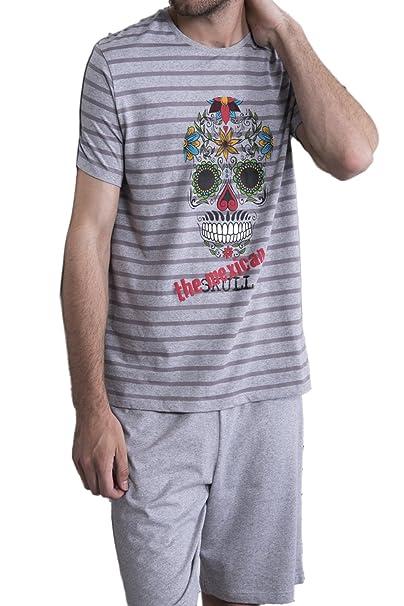 ADMAS Pijama Manga Corta Hombre Mexican Skull Hombre, Color Gris Jaspe, Talla S