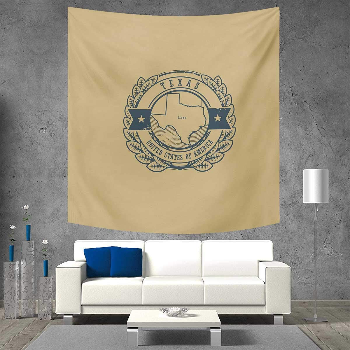 Anniutwo Texas Square Wall Tapestry Grunge Retro Rubber Stamp with Name and Map of Texas United States of America Home Decorations for Living Room Bedroom 55W x 55L Inch Khaki Cadet Blue