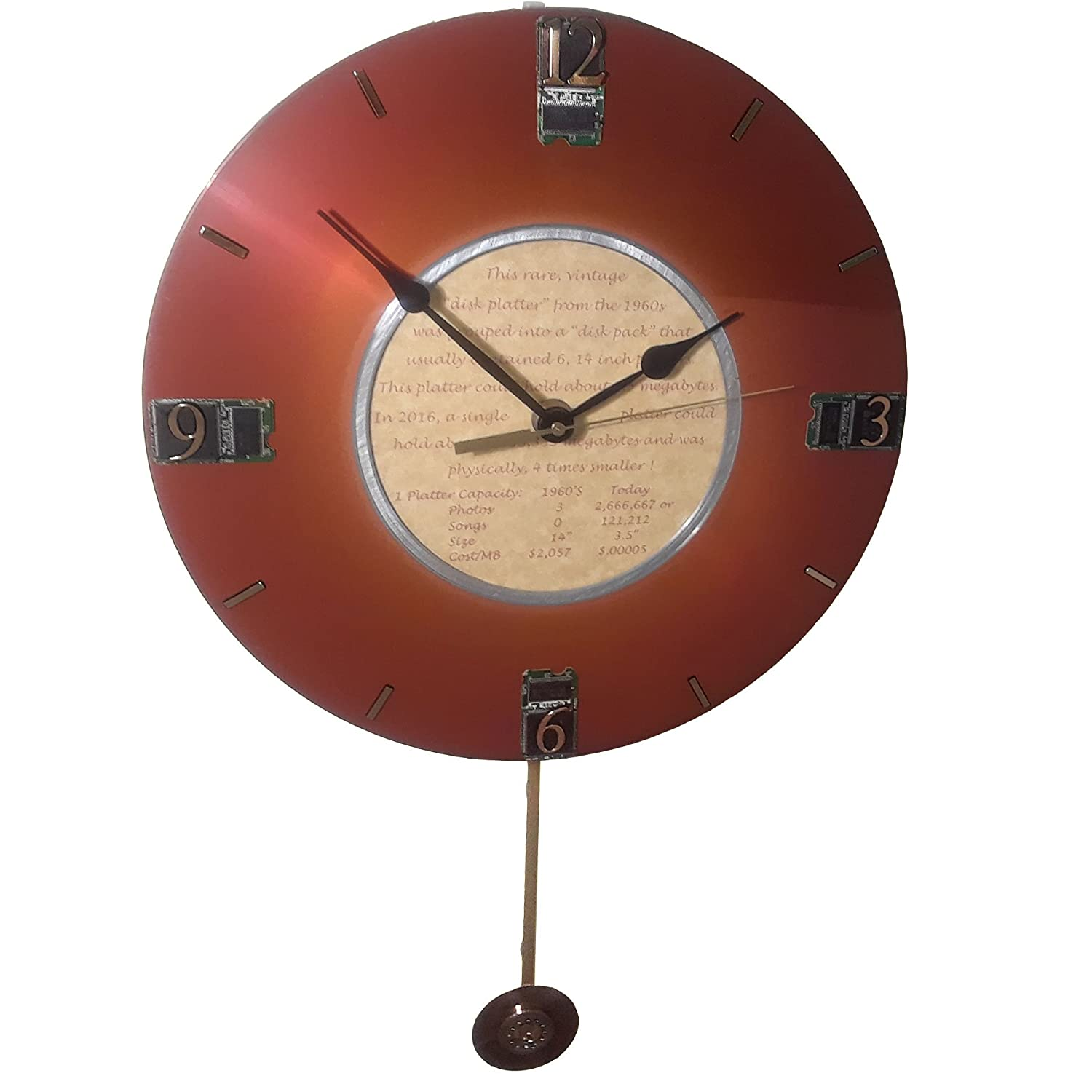 Pendulum Clock From An Ibm Vintage Computer Hard Drive Circuit Board Etsy Disk Platter The 1960s Got Unique Retirement Gift Office Company