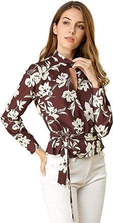 Allegra K Blusa Floral Recortada Gargantilla Cuello V para Mujeres