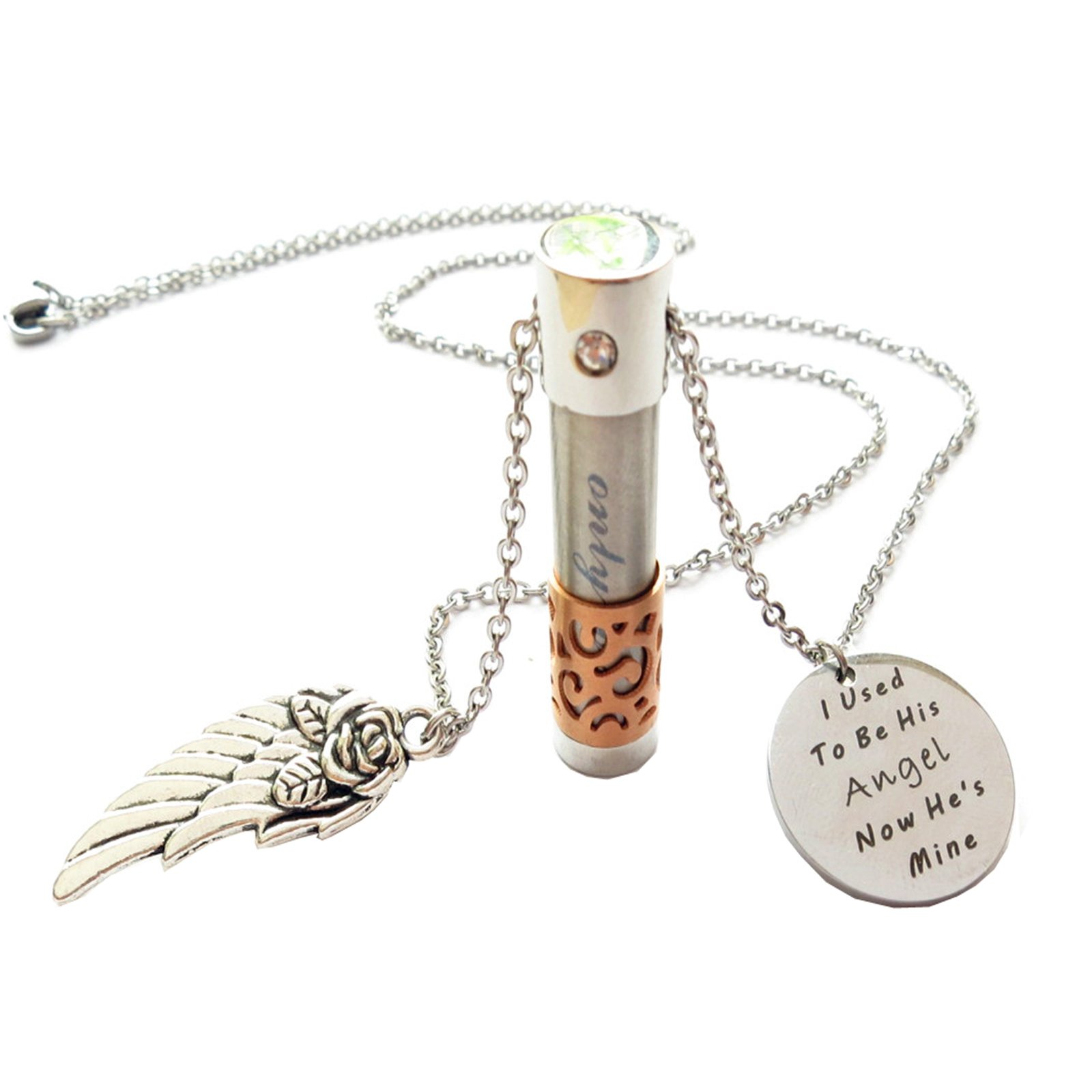 Memorial jewelry cremation ashes necklace