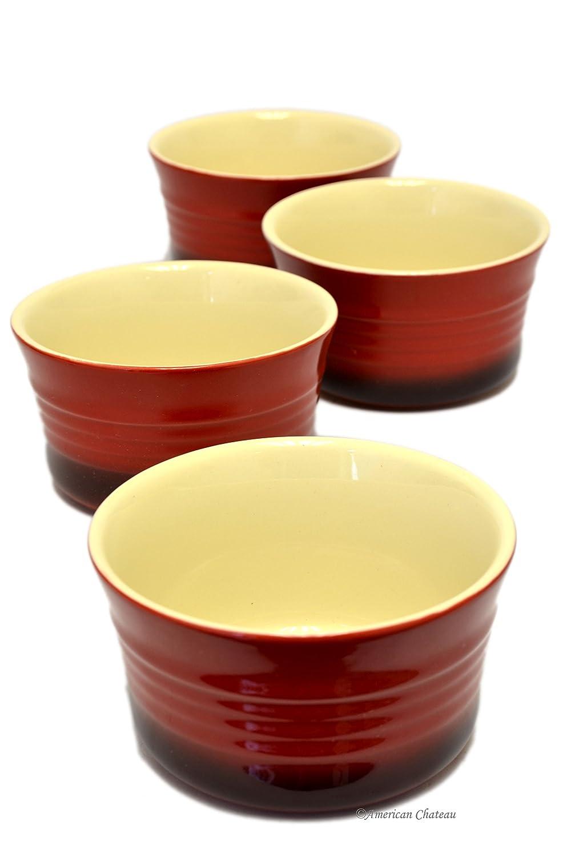 Set 4 Vintage-Red Ribbed Stoneware 9oz Oven Safe Baking Dish Ramekins