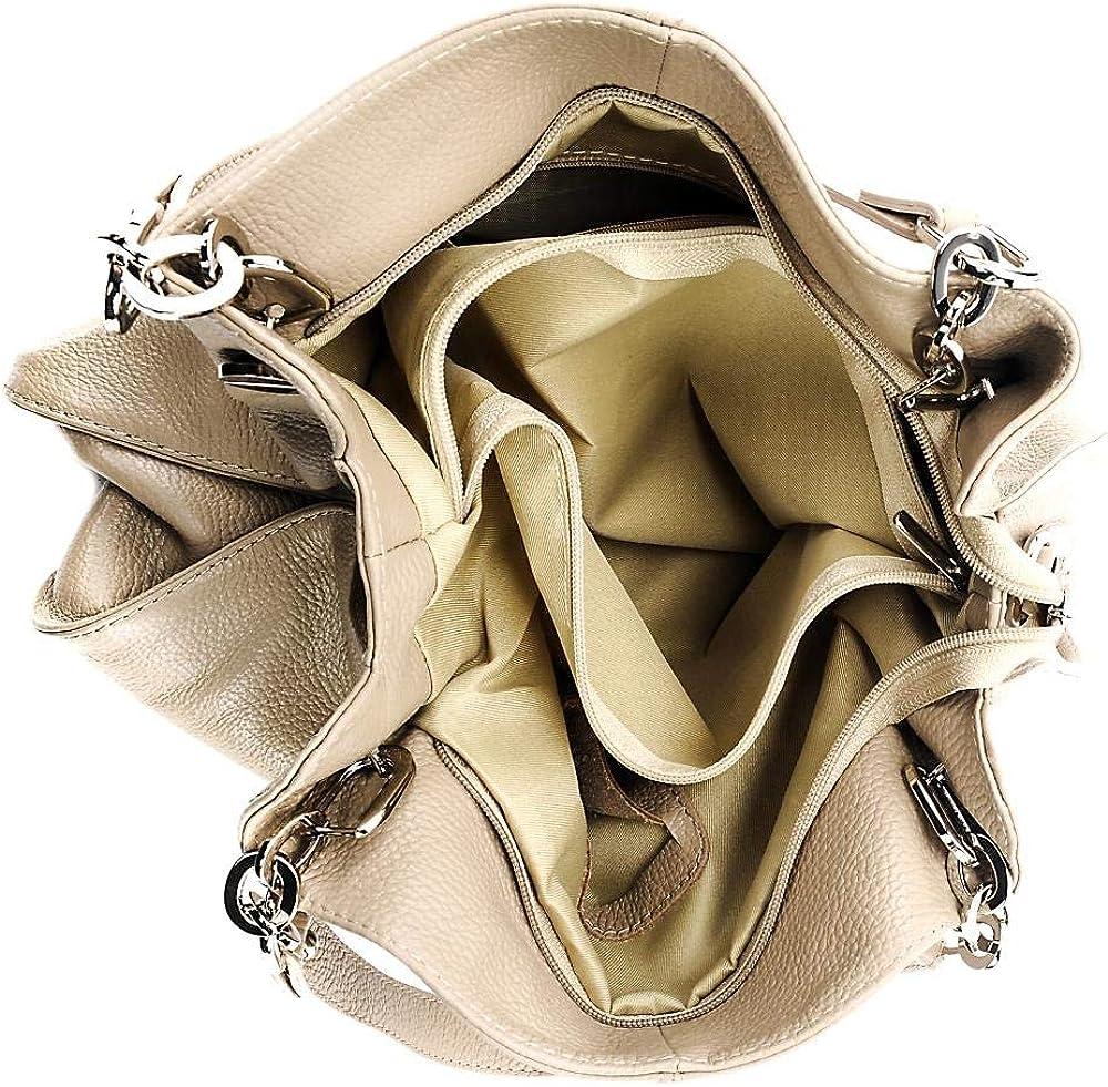 CUIR DESTOCK Sac porté épaule Cuir porté épaule bandoulière de travers et main fabriqué en Italie Taupe Clair