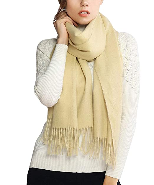 665b16d38e Cashmere Wool Scarf, Large Soft Women Men Scarves Winter Warm Shawl Gift  (Beige-01) at Amazon Women's Clothing store: