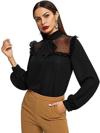 5cc6ce19b7a1ba Floerns Women's Long Sleeve Stand Tie Neck Mesh Chiffon Blouse Top Black XS