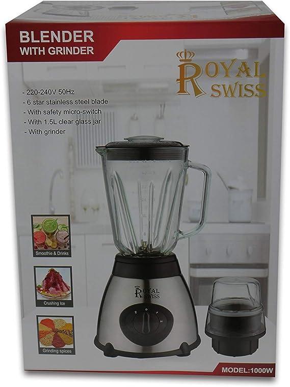 Royal Swiss - Batidora de vaso y acero inoxidable (1000 W): Amazon ...